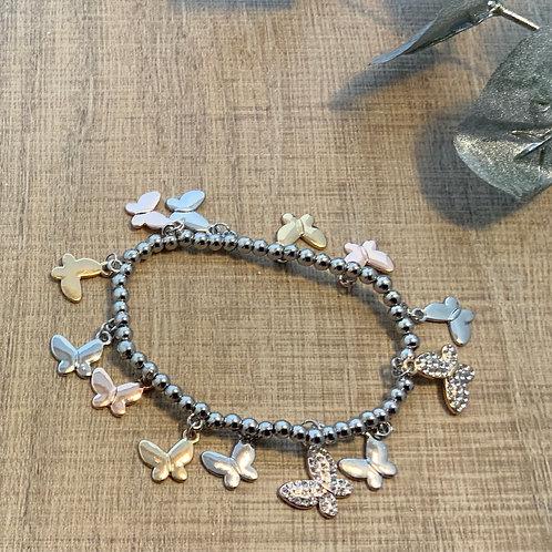 Three Coloured Butterfly Stretch Bracelet