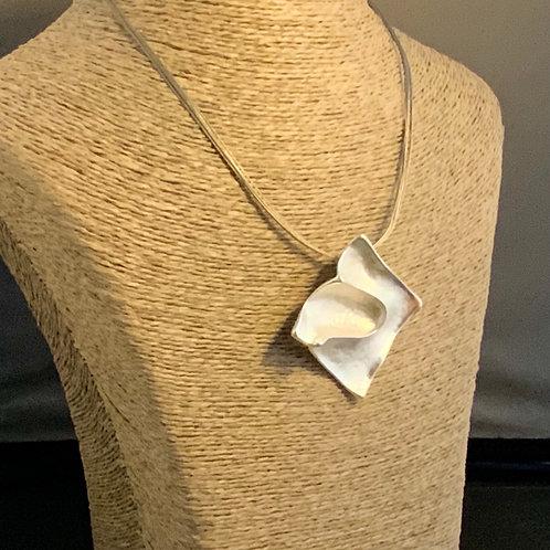 Multi Row Wire Necklace with Matt Square Pendant