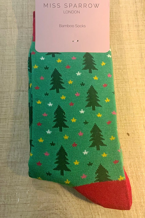 Christmas Tree Bamboo Socks
