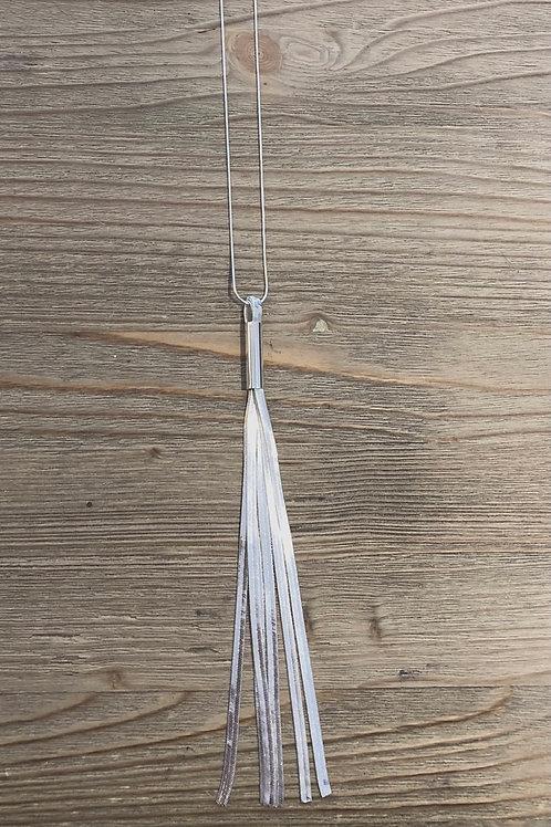 Silver Tassel Long Necklace