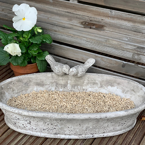 Oval Stone Bird Feeder/Planter