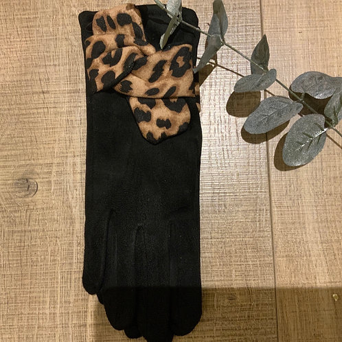 Black and Leopard Bow Gloves