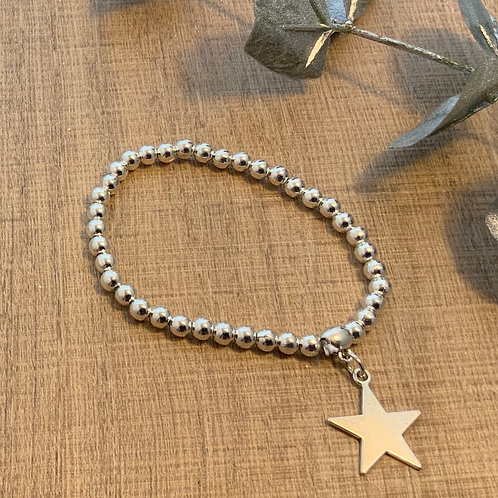 Beaded Stretch Bracelet with Hanging Star
