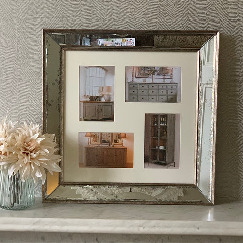 Antiqued Glass Photo Frame - 4 aperture