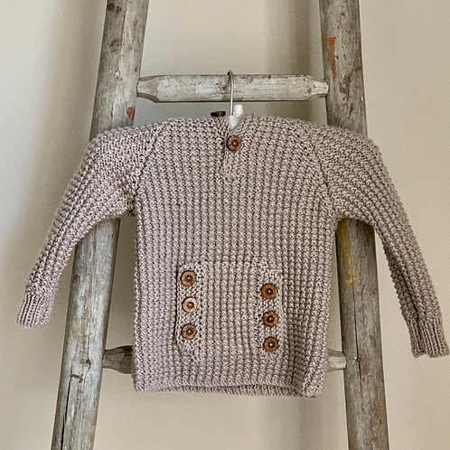 Fawn Hand-knitted Hooded Baby Jumper