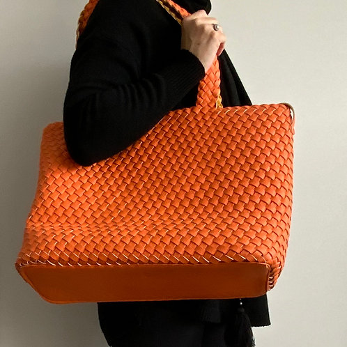 Woven Faux Leather Reversible Bag