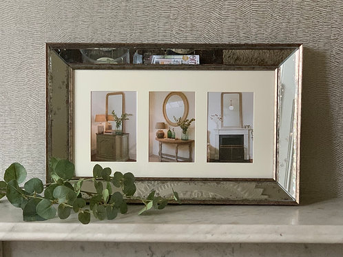Antiqued Glass Photo Frame - 3 aperture