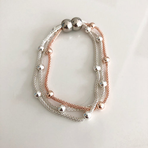 3 Row Mesh Chain Bracelet with Beads