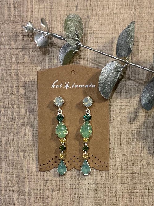 Hot Tomato Green Gem Stone Drop Earrings