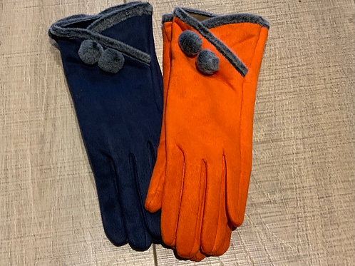 Pom Faux Suede Glove