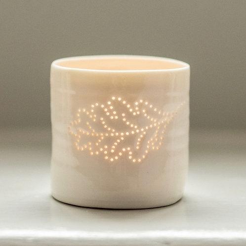 Oak Leaf Porcelain Tealight Holder