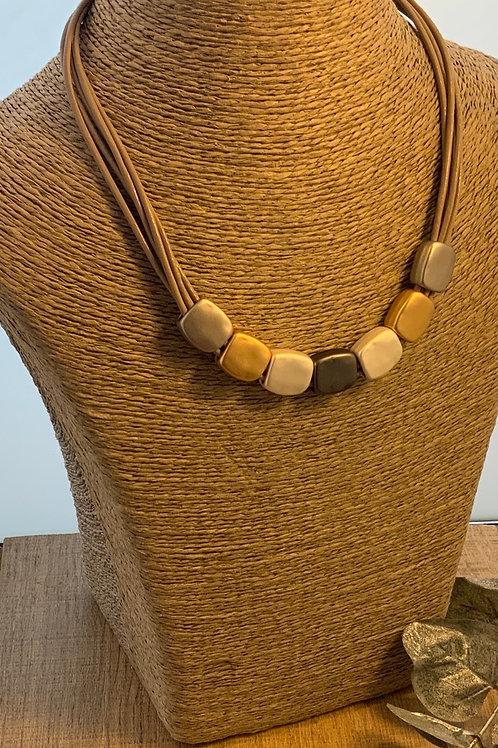 Three Coloured Matt Metal Necklace