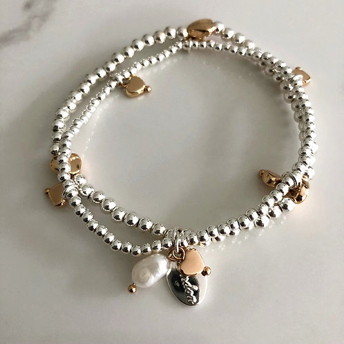 Beaded Heart and Pearl Bracelet