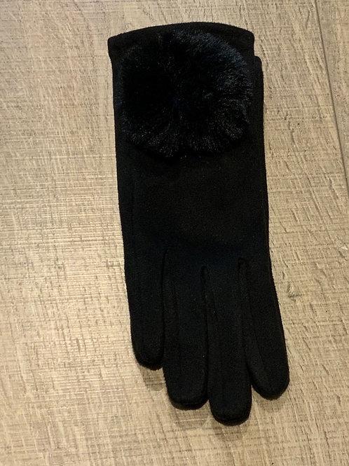 Big Pom Faux Suede Glove
