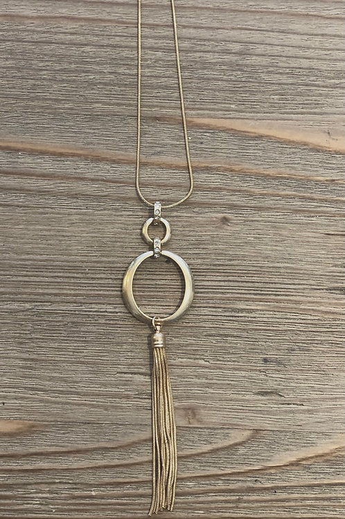 Matt Gold Double Circle Necklace