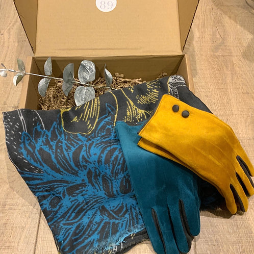 Floral Turquoise and Yellow Scarf and Glove Gift Box