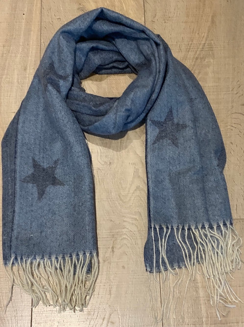 Denim Blue Star Scarf