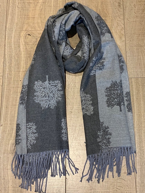 Two Tones of Grey Tree Scarf - Cashmere Feel