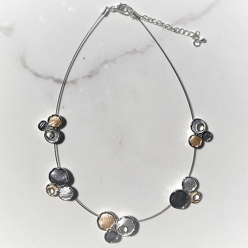Circle Trio Necklace on Silver Wire