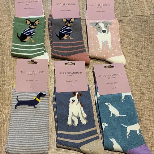 Miss Sparrow Bamboo Dog Socks