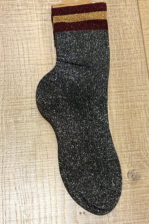 Silver Glitter socks with Burgundy and Gold Trim