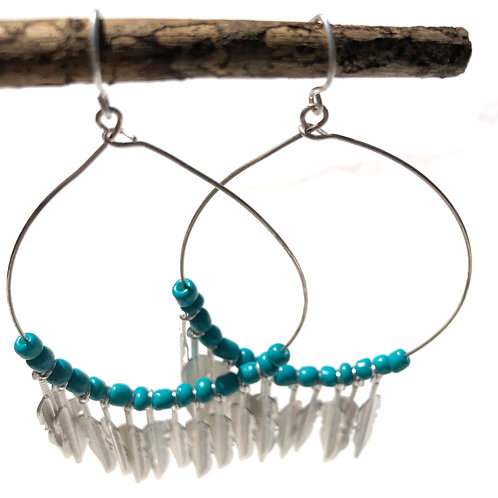 Boho Beaded Feather Hoop Earrings