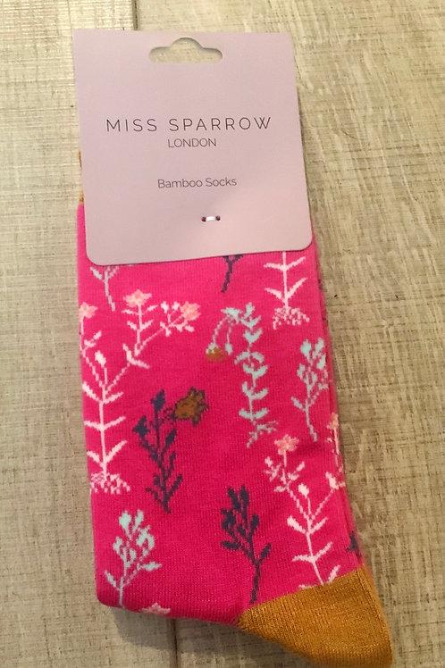 Fuschia Pink Floral Bamboo Socks