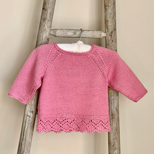 Hand-knitted Pink Baby Jumper