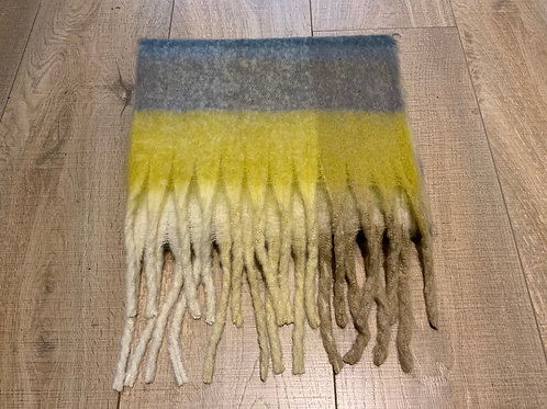 Grey and Yellow Chunky Scarf