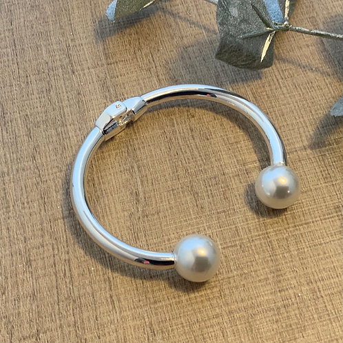 Silver Bangle with Pearls