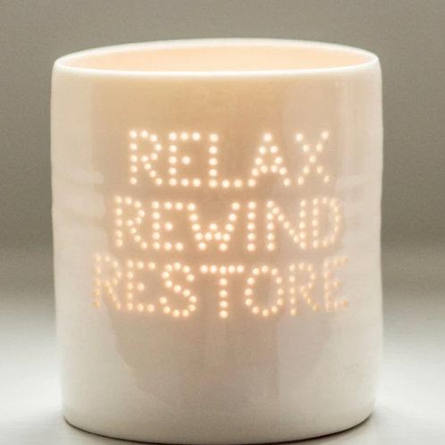 Relax, Rewind Restore Porcelain Tealight Holder