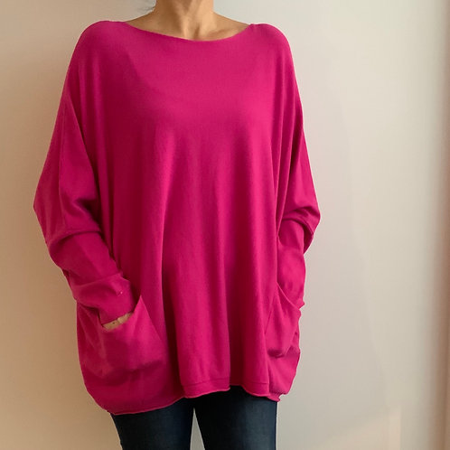 Over Sized Fuschia Two Pocket Jumper