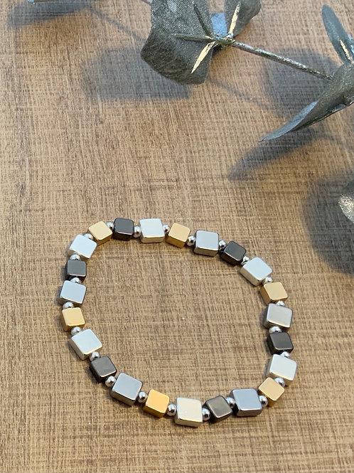 Three Coloured Metal Stretch Bracelet