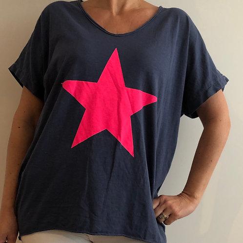 Baggy Pink Star T Shirt