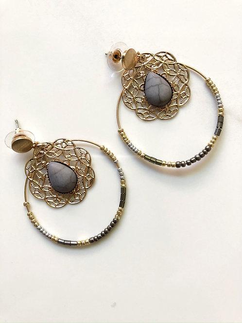 Gold Beaded Hoop Earrings
