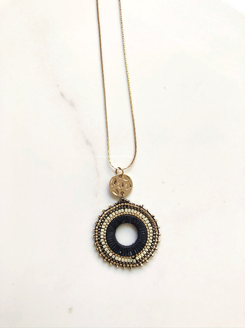 Navy Beaded Disc Necklace