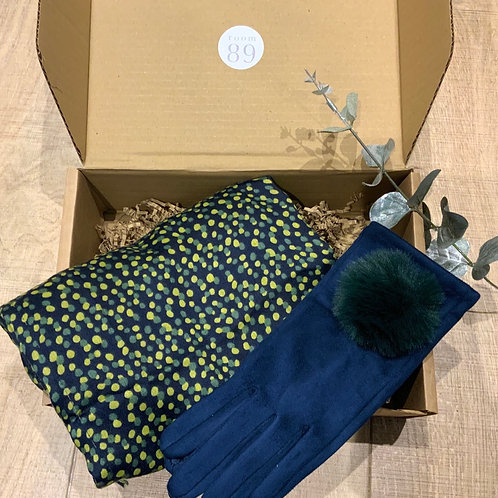 Navy and Yellow Scarf and Glove Gift Box