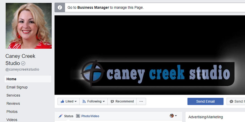 Screenshot of Facebook business page showing call to action button