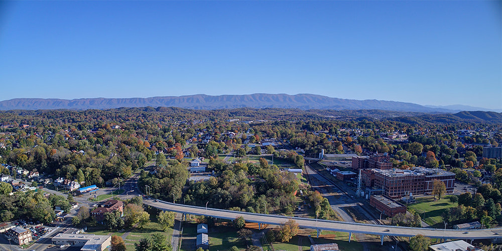 drone picture of downtown city landscape