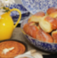 Fresh buttery rolls and cornbread