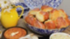 hot buttery homemade sourdough rolls in Golden Rabbit Blue enamalware