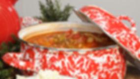Vegetable soup in Red Golden Rabbit enamelware