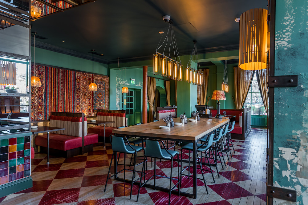 Interior photography of BABA restaurant, in the Principal Edinburgh Charlotte Square, designed by London hospitality interior designer Goddard Littlefair