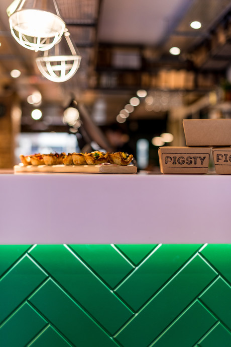 Interior photography by London photographers Franklin & Franklin of Bristol Cafe Pigsty, designed by hospitality and retail specialists Phoenix Wharf of the Blue Flint Group