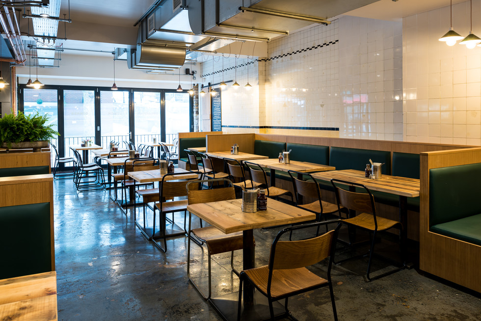 Interior photography of Bristol Cafe Pigsty, designed by hospitality and retail specialists Phoenix Wharf of the Blue Flint Group