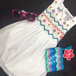 Girls embroidered dress & accessorie
