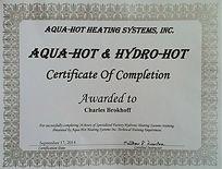 Aqua Hot Certificate