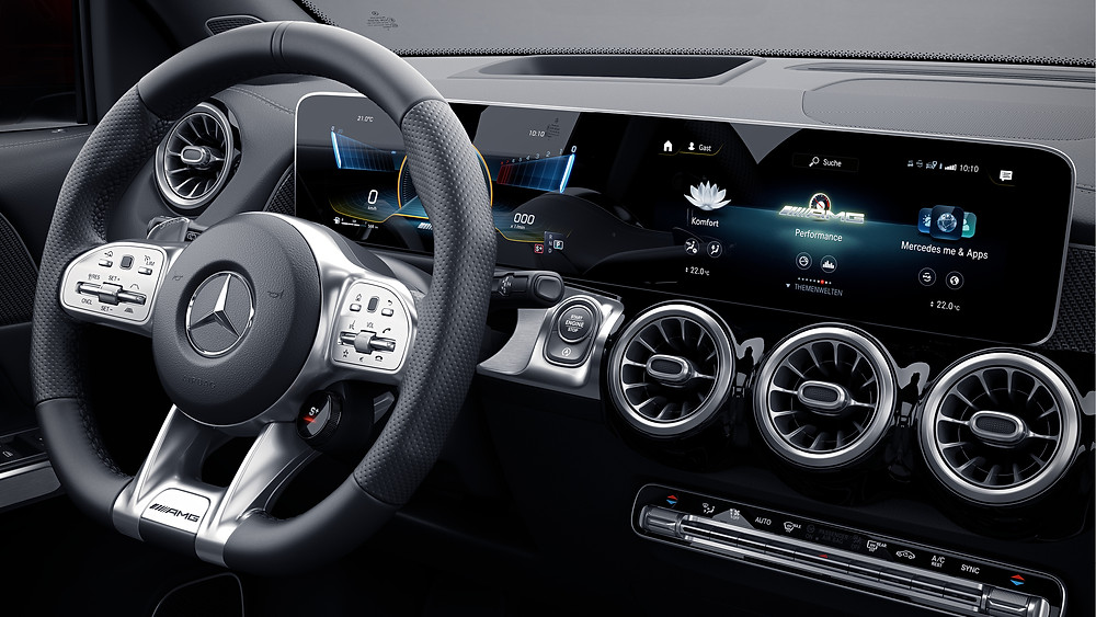A photograph of the dashboard of Mercedes A250.
