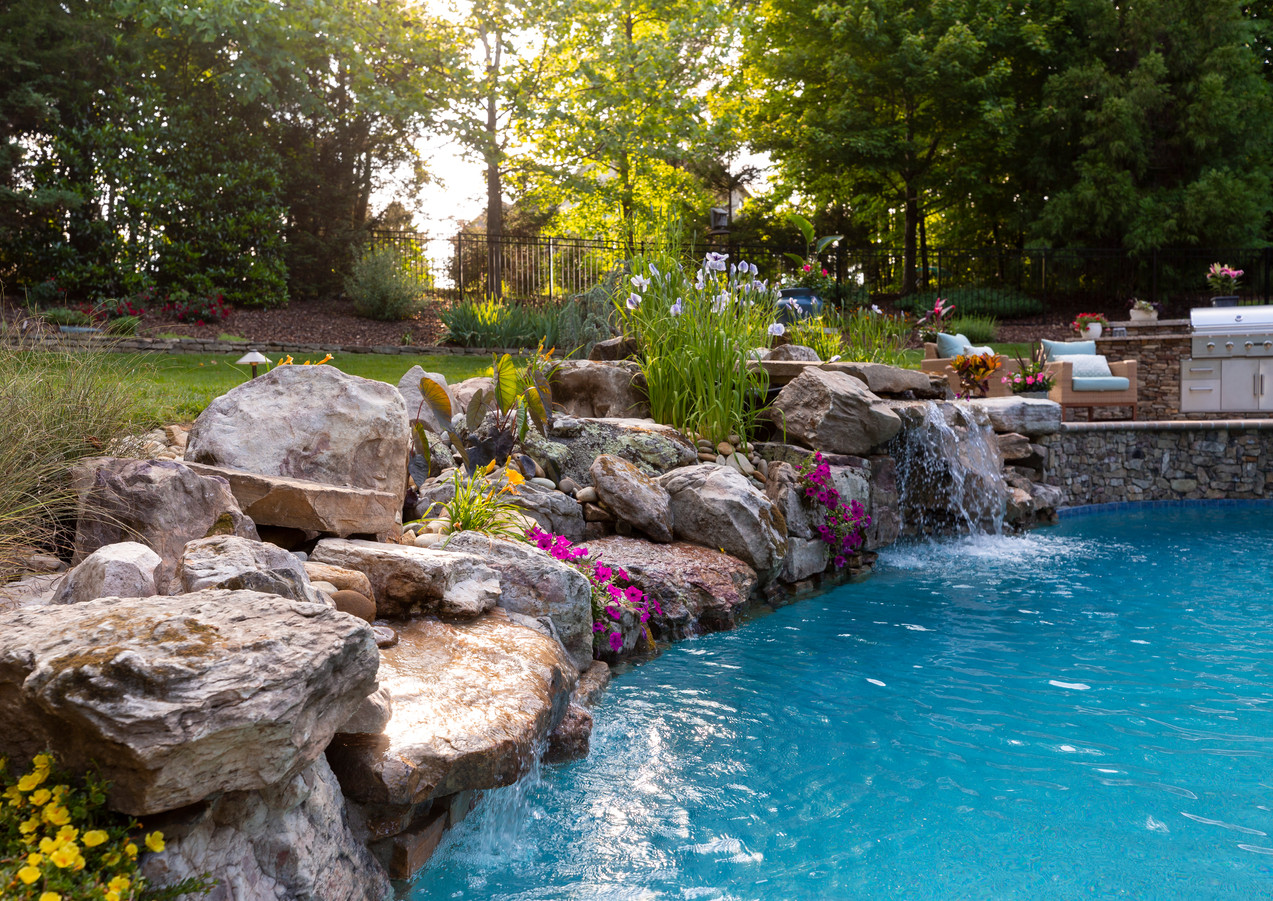 Water Feature, Natural Stone Veneer, Outdoor Living and Landscape