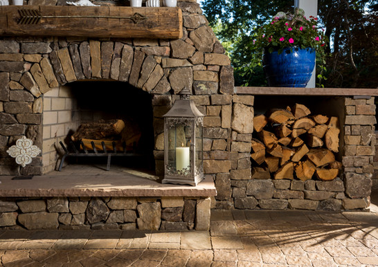 Custom Fireplace, Natural Stone Veneer, Outdoor Living and Landscape